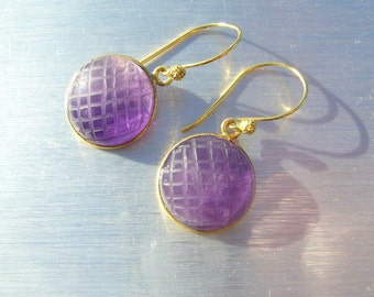 Amethyst Hand Carved Gold Drop Earrings