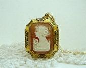 Antique Victorian Cameo Locket Necklace, Gold Filled Locket, Carved Shell Cameo Locket, Black Enamel Locket, Octagon Locket, Escutcheons