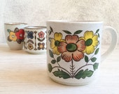 Three mismatched vintage Japan stoneware cups with flowers, instant collection coffee cups, yellow flower Japanese ceramic mugs drinkware