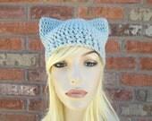 Gray Cat Ears Hat, Cute Cat Ears, Hat with Ears, Crochet Beanie with Ears, Gift for Teen Girl, Tween Gifts, Cat Lover Gift, Animal Ears