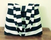 Big Tote-Double Straps-Large-Pleated-Navy Blue and White