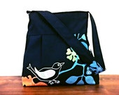 Black Birds-Zipper Closure-Pleated Bag-Adjustable to Straps-Ready to Ship