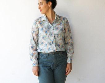 Vintage Sheer Top / Floral Blouse / Size L