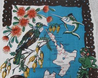 new zealand animals and flowers...vintage souvenir linen teatowel