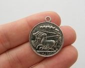 BULK 20 Coin charms antique silver tone WT198