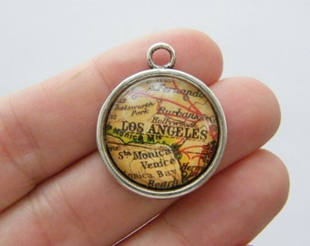 4 Los Angeles map charms antique silver tone WT125
