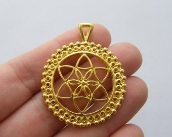 2 Flower of life charms gold tone GC59