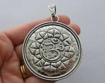 BULK 5 OM charms antique silver tone I100
