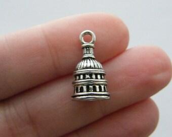 BULK 20 Capitol dome charms antique silver tone WT22 - SALE 50% OFF