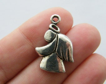 8 Angel charms antique silver tone AW105