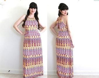 ON SALE 1970s Dress / 70s Halter Dress / 1970s Psychedelic Maxi Dress
