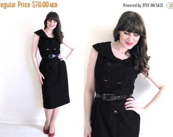ON SALE 1950s Dress / 50s Dress / Black Wiggle Dress