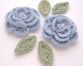 "Lt. Periwinkle 1-3/4"" Crochet Rose Flower Embellishments w/ Leaves Handmade Scrapbooking Fashion Accessories Appliques - 6 pcs. (3400-02L)"