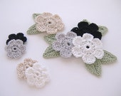 8 Neutral Mix Crochet 6-Petal Flower Embellishments w/ Leaves Handmade Scrapbook Fashion Accessories Applique - 16 pcs. (413-2)