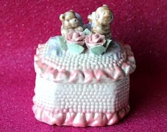Vintage Shabby Chic Cottage Bear Trinket Box