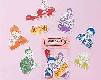 Seinfeld WATERPROOF Sticker Pack -Set of 7 - Vinyl Stickers - Hand Drawn Sticker - Handmade Sticker - Seinfeld Sticker