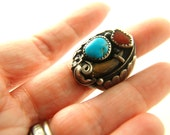 Claw Ring with Turquoise and Coral - Sterling Silver - Native American - Vintage