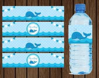 Whale Water Bottle, Whale Baby Shower, Whale Wrapper, Baby Shower  Decorations, Nautical Baby Shower, Nautical Water Bottle, Instant Download