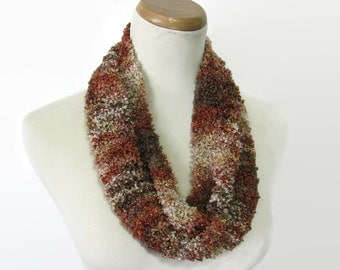 Rust Tan Scarf, Knit Cowl, Spring Scarf, Mothers Day, Fashion Scarf, Gift for Her, Fiber Art, Circle Scarf, Loop Scarf, Women's Scarf