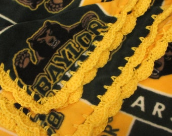 BU Baylor University Bears College Fleece Throw Blanket with Crochet Edge School