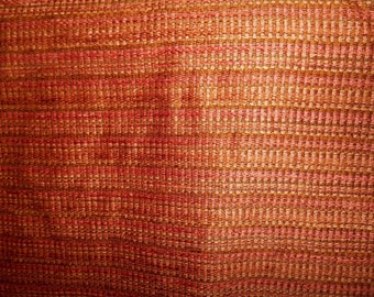 gold coral brown  SLUBBY WOVEN upholstery fabric home decor