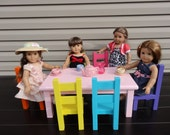 RAINBOW Colors American doll table and 6 chairs in custom color paint of your choice