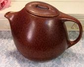 Vintage Roseville Pottery Raymor Teapot, Autumn Brown, Dark Brown, 8 Cup Size, Mid Century Retro Dinnerware, Art Pottery, Design Ben Seibel