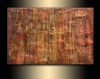 Original Thick Texture Metallic Gold Abstract Painting On Canvas By Henry Parsinia New Wave Art Gallery 36x24