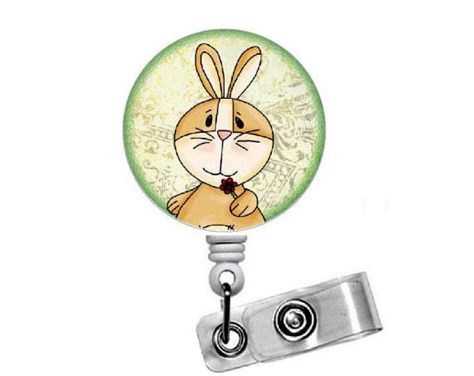 "Bunny with Rose Flower 1.5"" - Badge Holders - Gift for Her - Hospital Badge Holder - Nurse Badge - School Badge - Easter Badge - Badge Clip"