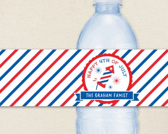 4th of July Fireworks Water Labels - 100% Waterproof, Personalized Labels - Printable file also available
