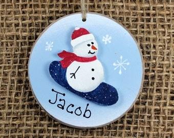 Snowboarding Ornament~ Personalized~ Snowman~ Boy's Name~ Keepsake