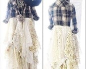 Lace Kimono, Country girl, bohemian chic, flannel duster dress, Boho duster fall flannel, Romantic boho, french country, True rebel clothing