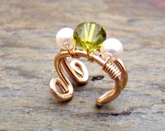 Gold Ear Cuff with Pearls Olivine Swarovski Crystal 14K Gold Filled Earcuff Ear Wrap Body Jewerly