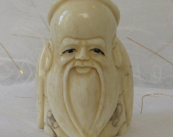 Vintage  Netsuke  Carved  Ox Bone  Wise Bearded Man