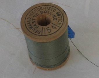 Belding   Green Vintage Spool of Cotton Thread