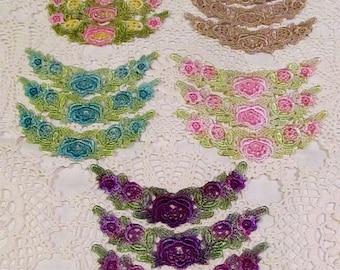 Venise Lace Flower Trim Hand Dyed  Embellishment Applique Motifs