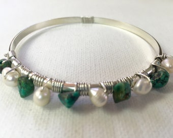 Turquoise and Pearl Hand Wrought Sterling Bangle Bracelet