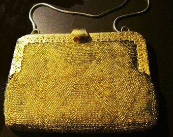 Vintage Gold Beaded Purse Small