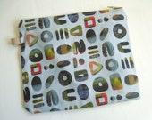 Original design hand sewn weird alphabet zipper bag