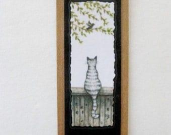 Bookmark Cat & Bird -  Hand made from artist Original Watercolor Print - Kitty - Laminated