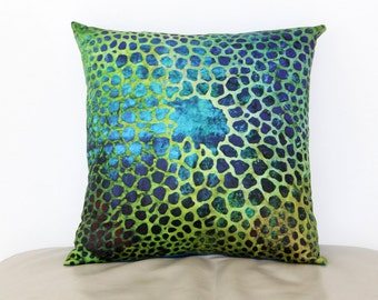 "Throw Pillow Cover from My Original Painted Collage  ""Under the Sea 2""  15"" x 15"""