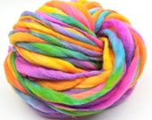 Handspun rainbow yarn, 56 yards and 3.5 ounces, 100 grams, spun super chunky, thick and thin in merino wool