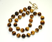 Tigers Eye Necklace - Large Round Beaded Necklace - Brown Gemstone Jewelry - 14k gold fill