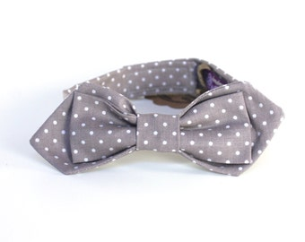 Boy's Bow Tie - Grey Pin Dot - Gray and White Polka Dot Ring Bearer Kids Bowtie - diamond point or traditional - any size