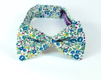Bow's Tie - Kid's - Green & Blue Liberty of London Mini Floral Boy's Bowtie - Blue Green White Ringbearer Tie - floral tie