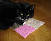 Organic catnip toy, cat mat, cat toy quilted small blanket, cat gift under 15, colorful catnip toy