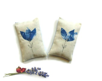 Organic lavender sachets, rose and lavender blend, unique flower sachets, bridal shower favor, blue flowers summer wedding