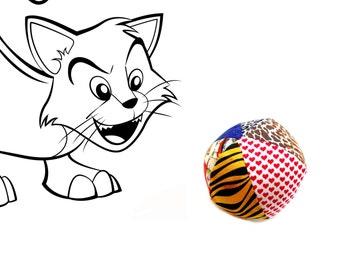 Catnip ball toy, colorful soft toy, cat gift under 10, cat birthday, organic catnip ball