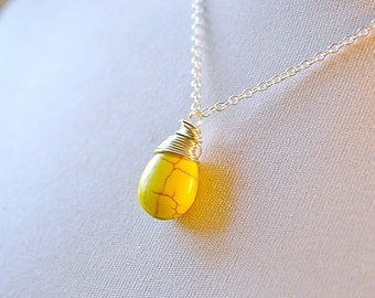 Bright Yellow Turquoise Necklace, Vibrant Lemon Yellow Faux Turquoise Teardrop, Silver Wire Wrapped Briolette Jewelry