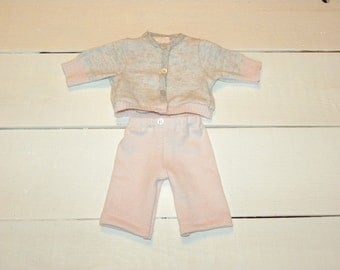 Pink and Grey Cotton Knit Sweater and Pants - 14 - 15 inch doll clothes